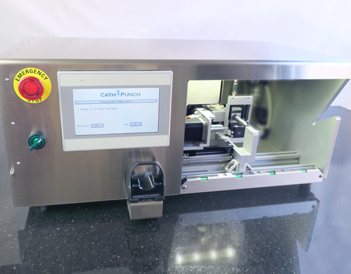 cath punch machine to drill holes in catheters